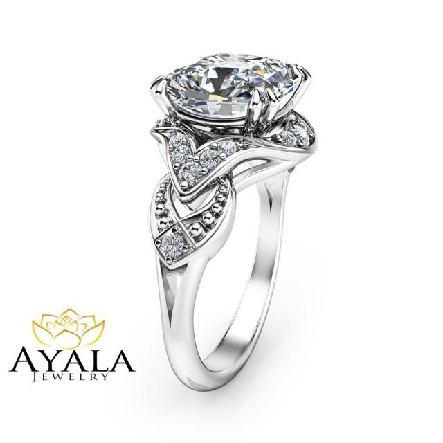 cushion cut ring 14k white gold engagement ring