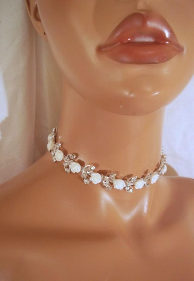 wedding photo - Rhinestone Choker Necklace, Bridal Choker, Bride Necklace, Rhinestone Rose Pearl Choker Necklace, Sexy Rhinestone Choker, Formal Necklace