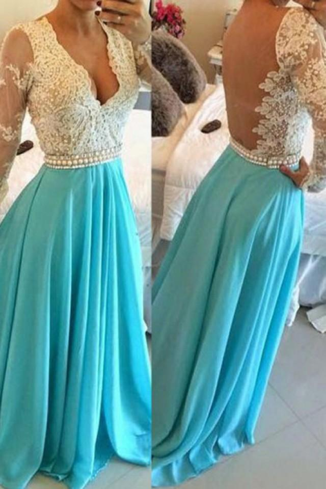 wedding photo - V-neck Chiffon Blue Backless Prom/Evening Dress With Long Sleeves from Tidetell