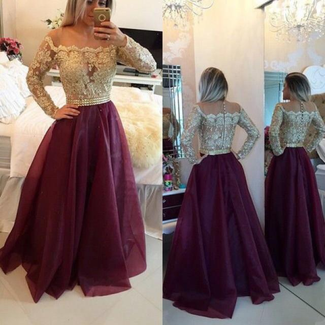 wedding photo - Illusion Scoop Long Sleeves Burgundy Prom/Evening Dress With Appliques Buttons from Tidetell