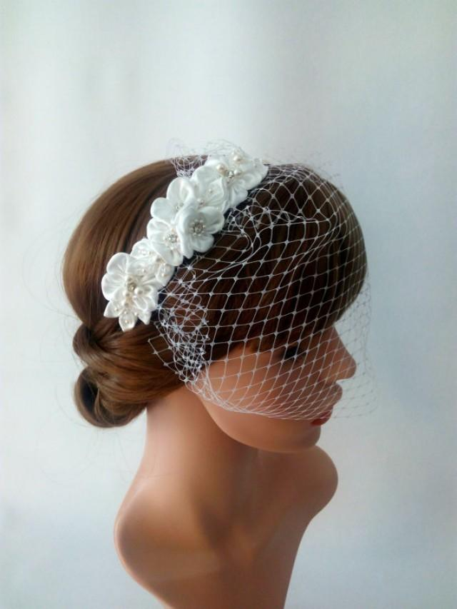 wedding photo - Birdcage Veil Headband Wedding with Satin Flowers, Pearl and Flower Headband Bridal Birdcage Veil, Detachable Veil, Ivory Birdcage Veil