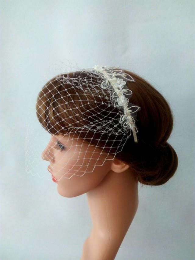 wedding photo - Lace Birdcage Veil Headband, Blusher Veil with Pearl Beaded Lace Headband, Ivory Birdcage Veil