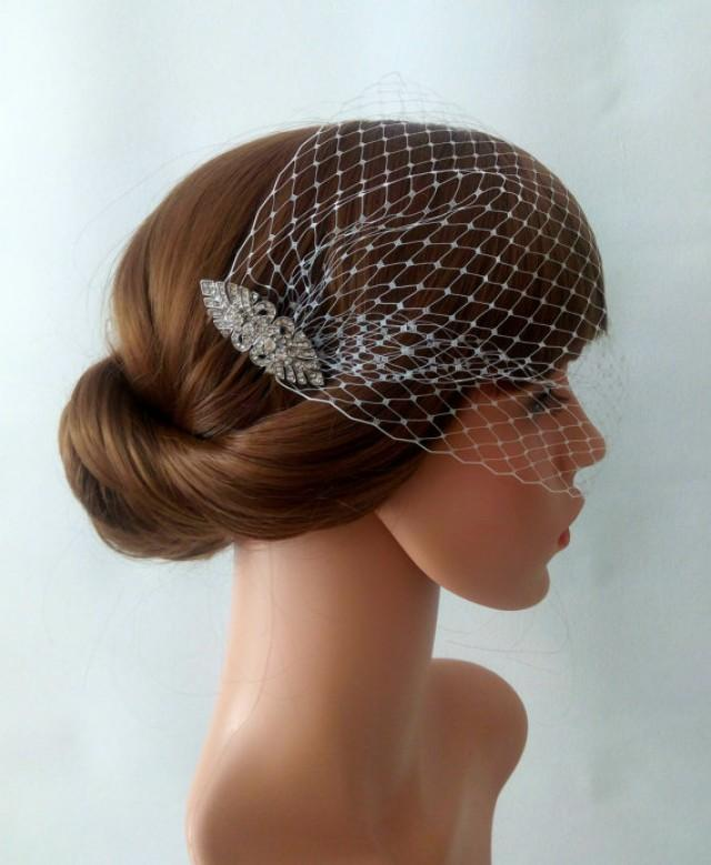 wedding photo - Art Deco Birdcage Veil Ivory or White Netting with 2 Art Deco Hair Comb Bridal Fascinator, Bandeau Veil, Bandeau Birdcage Veil, Detachable