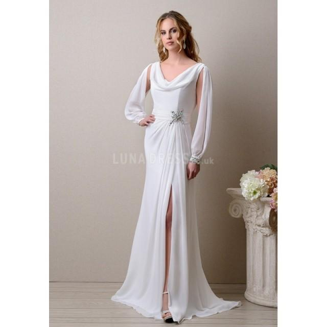 Cowl Neck Back Wedding Dresses: Special Cowl Neck Chiffon Sheath/ Column Long Sleeves