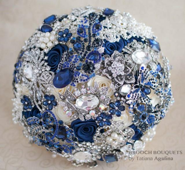 wedding photo - Brooch bouquet. Navy blue and Silver wedding brooch bouquet Quinceanera keepsake bouquet