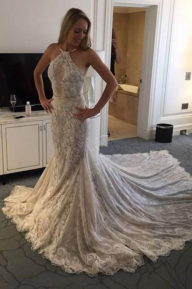wedding photo - Stylish Halter Mermaid Sleeveless Sweep Train Lace Wedding Dress with Sash