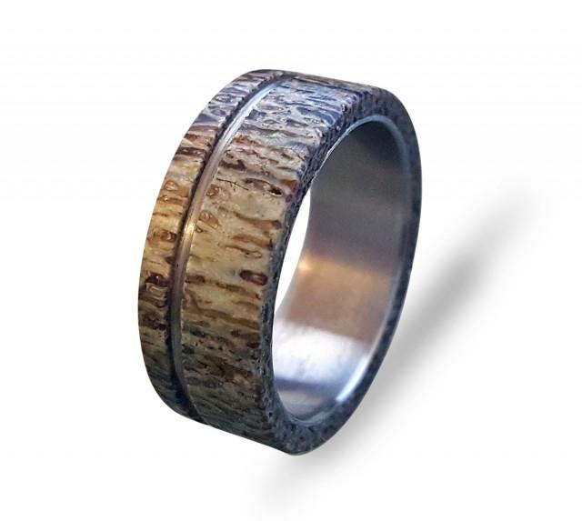 wedding photo - Antler Mens Ring, Titanium Ring With Antler, Bone Ring, Mens Titanium Wedding Band