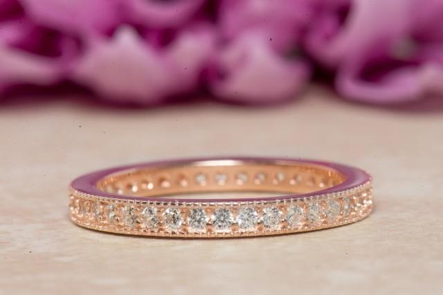 wedding photo - Eternity Ring, Eternity Band, Wedding Band, Rose Gold Plated, Diamond Simulants, Sterling Silver Ring