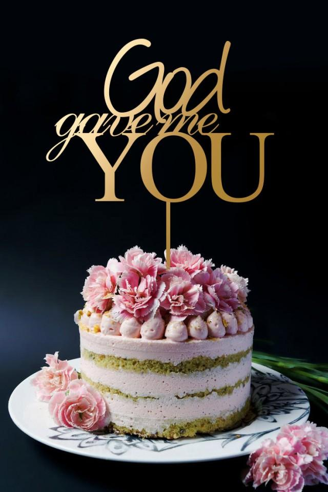 wedding photo - God Gave Me You Cake Topper, Wooden Wedding Anniversary Cake Topper A216