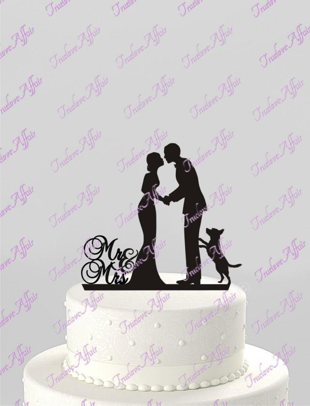 wedding photo - Wedding Cake Topper Silhouette Groom and Bride with Dog, Mr & Mrs Acrylic Cake Topper, [CT78p]