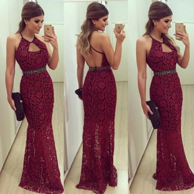 wedding photo - Sexy Halter Sheath Lace Backless Long Dark Red Prom/Evening Dress