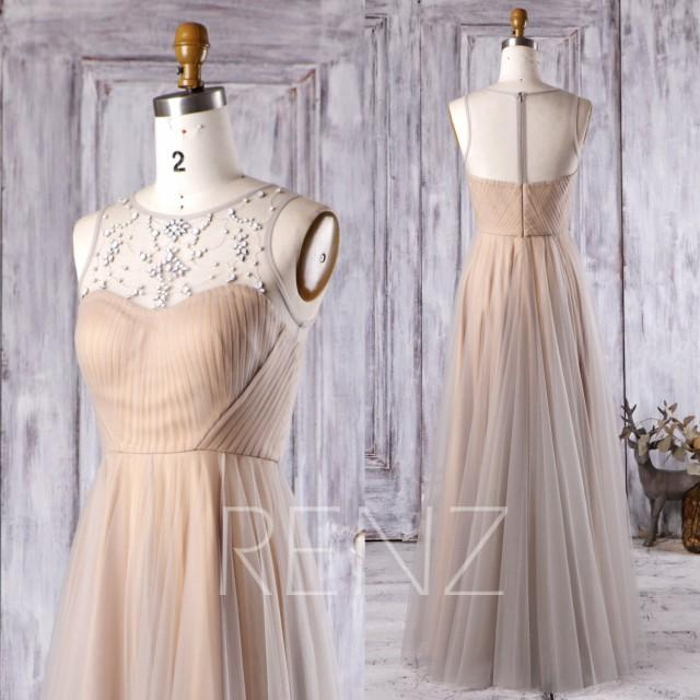 wedding photo - 2016 Light Gray Mesh Bridesmaid Dress, Champagne Satin Wedding Dress, Beading Sweetheart Neckline Illusion Prom Dress Floor Length (HS268)