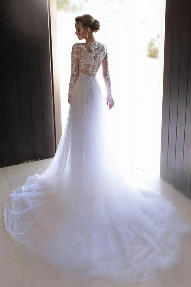wedding photo - White wedding dress,dress Long sleeves,lace wedding dress,wedding gown,Ivory wedding dress,Chiffon wedding dress ,Trail Wedding dress