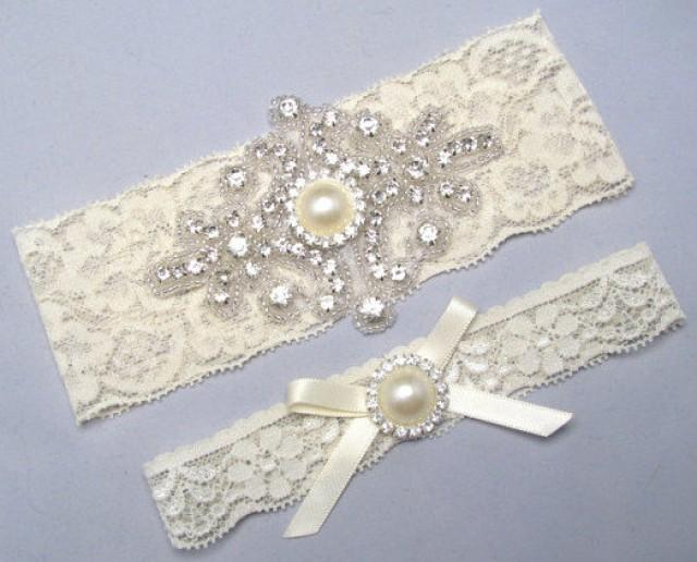 wedding photo - Wedding Garter, Bridal Garter Set, Ivory / Off White Lace Wedding Garters, Crystal Rhinestone Pearl Garter, Something Blue, Custom Garters