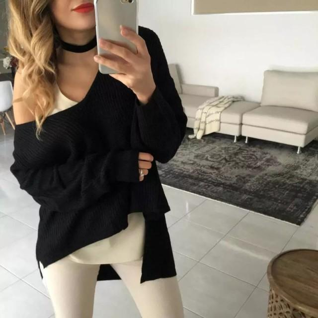wedding photo - Hot V-neck Long Sleeves Women's Mini Black Fashion Sweater Dress