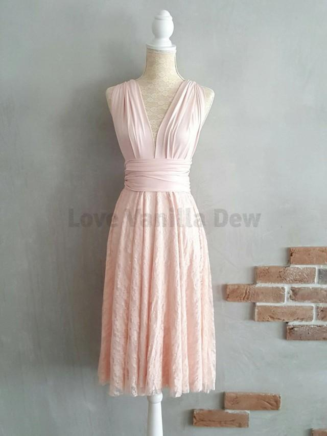 wedding photo - Bridesmaid Dress Infinity Dress Blush Lace Knee Length Wrap Convertible Dress Wedding Dress