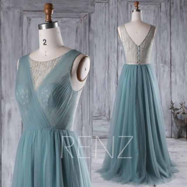 wedding photo - 2016 Long Dusty Green Bridesmaid Dress Long, A Line Wedding Dress, Mesh Bead Golden Shimmer Illusion Prom Dress Floor Length (HS309)
