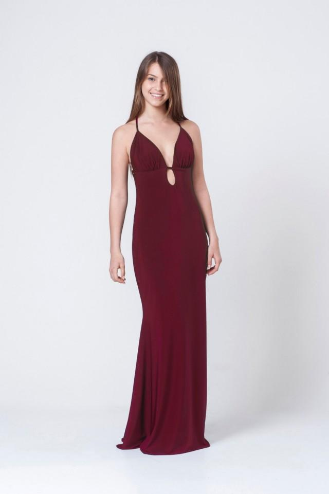 wedding photo - Burgundey bridesmaid maxi dress - Open back flaming burgundey dress -Spaghetti full length dress