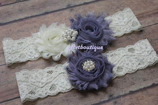 wedding photo - Rustic wedding garter, country wedding garter, grey garter, lace weeding garter, garter wedding, garter set, bridal garter blue, wedding