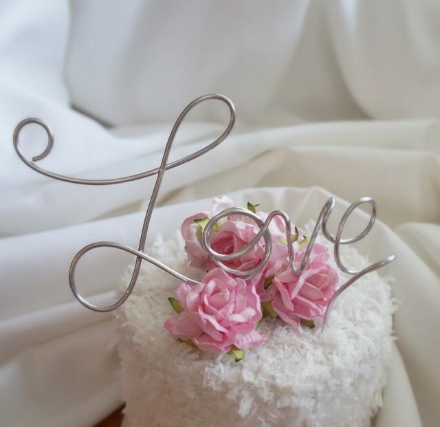 wedding photo - Love Wedding Cake Topper, Bride Shower Decor,  5.5 Inch