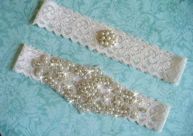 wedding photo - Elegant Rhinestone and Lace Wedding Garter Set, Wedding Garter Belts Etsy, Lace Bridal Garter, Wedding Accessories, Rhinestone Pearl Garter