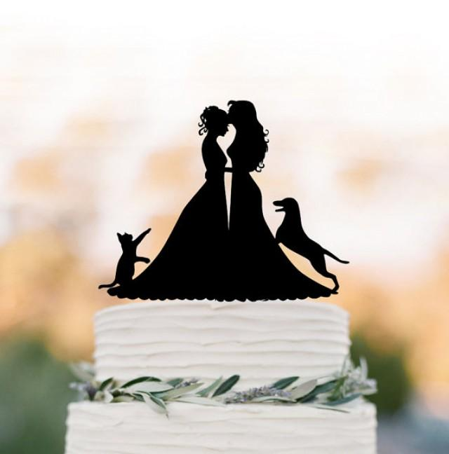 wedding photo - Lesbian wedding cake topper with cat. same sex wedding Cake Topper with dog, silhouette cake topper, mrs and mrs wedding cake decoration