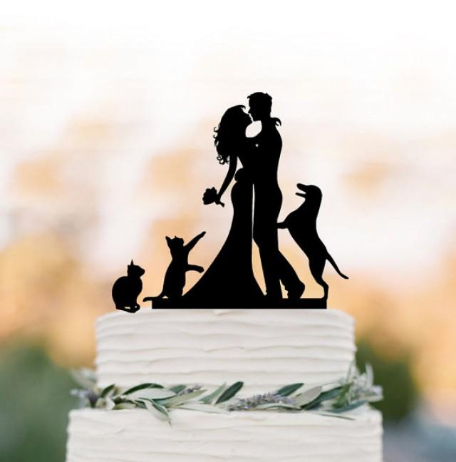 wedding photo - Funny wedding cake topper with cat. wedding Cake Topper with dog, silhouette cake topper, Rustic wedding cake decoration
