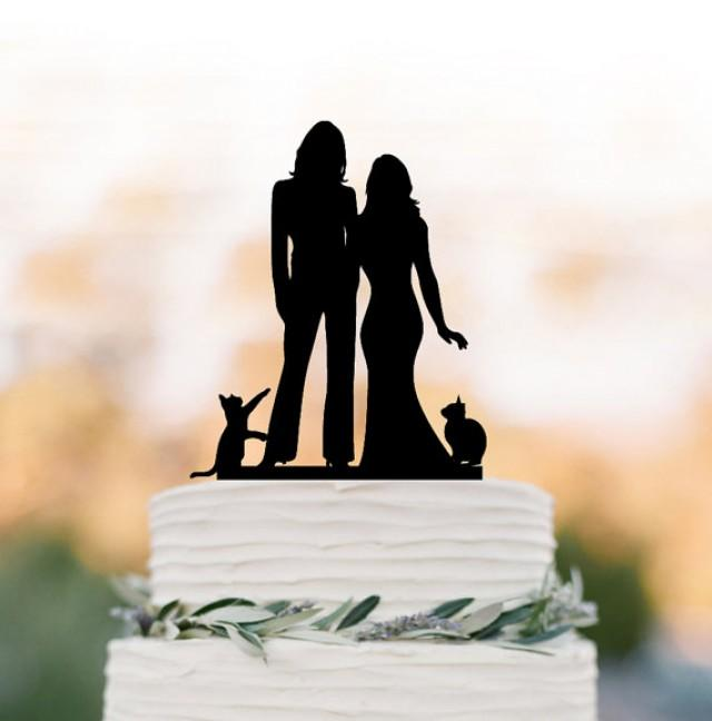 wedding photo - Lesbian wedding cake topper with cat. same sex mrs and mrs cake topper, silhouette cake topper, Rustic wedding cake decoration