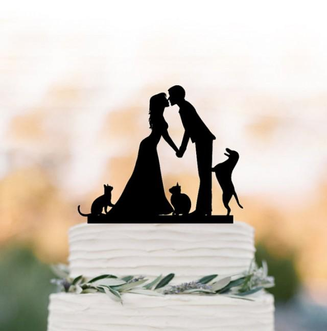 wedding photo - Wedding Cake topper with Cat, Wedding cake topper with dog. Topper with bride and groom silhouette, funny cake topper, family cake topper