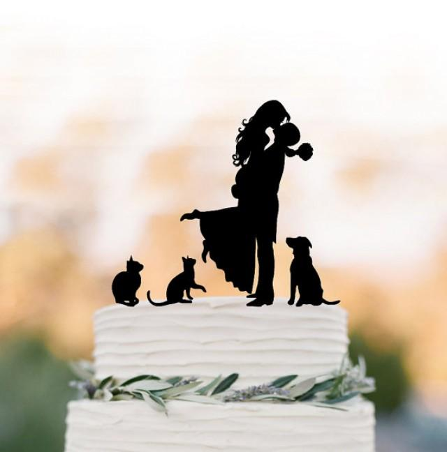 wedding photo - Family Wedding Cake topper with dog, Cake Toppers with two cats, couple silhouette, cake toppers bride and groom kissin silhouette