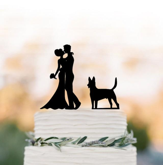 wedding photo - Unique Wedding Cake topper dog, Cake Toppers with custom dog bride and groom silhouette, funny wedding cake toppers customized dog