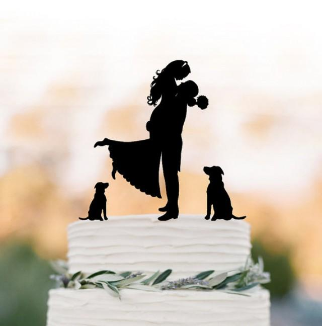 wedding photo - Unique Wedding Cake topper two dog, Cake Toppers with custom dog bride and groom silhouette, funny wedding cake toppers with dog