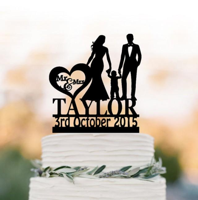 wedding photo - Family Wedding Cake topper with child, Personalized wedding cake toppers, funny wedding cake toppers with boy silhouette