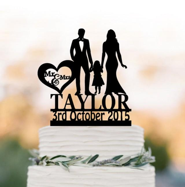 wedding photo - Family Wedding Cake topper with girl, Customized wedding cake toppers, funny wedding cake toppers with child silhouette