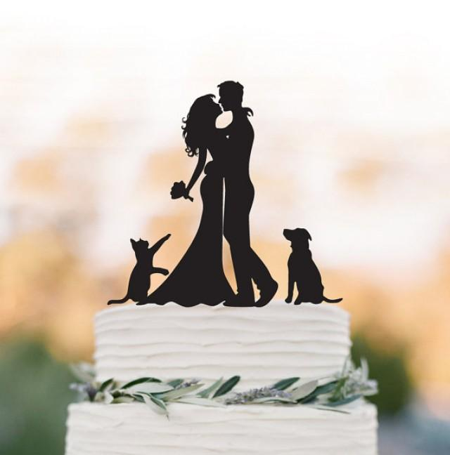 wedding photo - Wedding Cake topper With dog and cat Bride and groom silhouette funny wedding cake topper