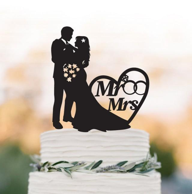 wedding photo - Mr And Mrs Wedding Cake topper with rings and heart decor, Bride and groom silhouette funny wedding cake topper, Funny Wedding cake topper