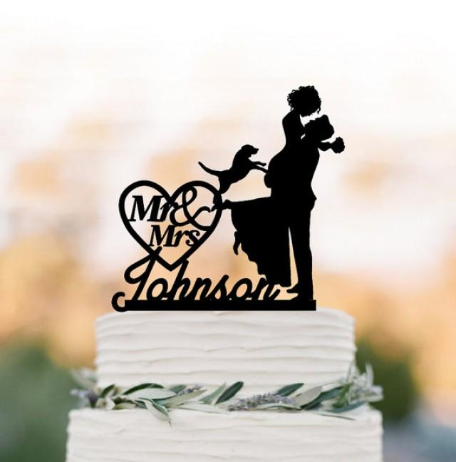wedding photo - Personalized Wedding Cake topper with dog, groom lifting bride with mr and mrs in heart funny cake topper, acrylic cake topper