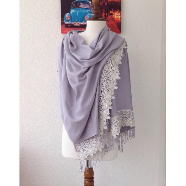 wedding photo - Silver Gray Wedding Shawl, Bridal Shrug, Luxurious Shawl, Ivory Scarf, Bridal CoverUp, Wedding Wrap, Bridesmaid Gifs