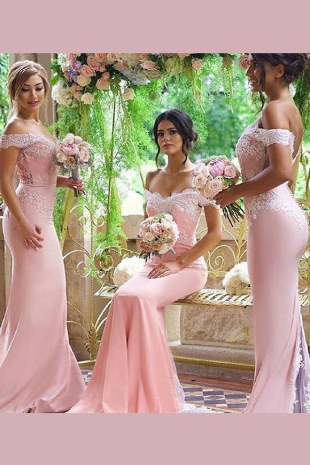 wedding photo - Elegant Off-the-shoulder Sweep Train Pink Mermaid Bridesmaid Dress with Appliques