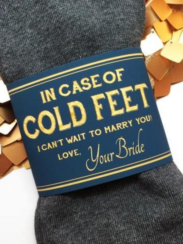 """wedding photo - """"In Case Of Cold Feet"""" Socks Label- Navy & Gold Bride's Gift To Groom"""