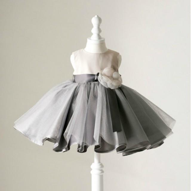 wedding photo - Ivory and Grey High End Puff Flower Girl Dress, Christening Dress, First Communion Dress, Baptism Dress
