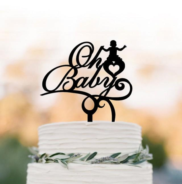 wedding photo - Oh Baby cake topper, Baby Shower cake topper, party Cake decor, oh baby sign cake topper Acrylic cake topper birthday cake topper
