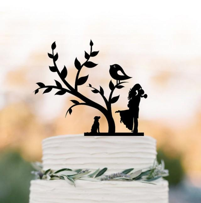 wedding photo - Bride and groom silhouette Wedding Cake topper with dog, cake topper wedding, wedding cake topper with tree and bird, family cake topper