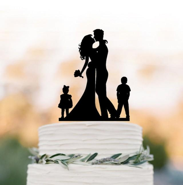 wedding photo - Bride and groom silhouette Wedding Cake topper with child, cake topper wedding, wedding cake topper with boy and girl, family cake topper