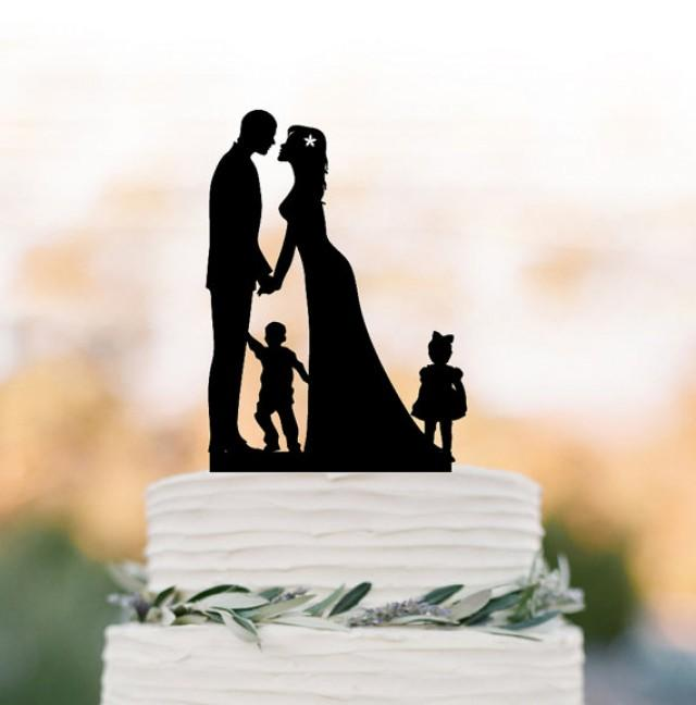wedding photo - Bride and groom Wedding Cake topper with child, cake topper wedding, silhouette wedding cake topper with boy and girl, family cake topper