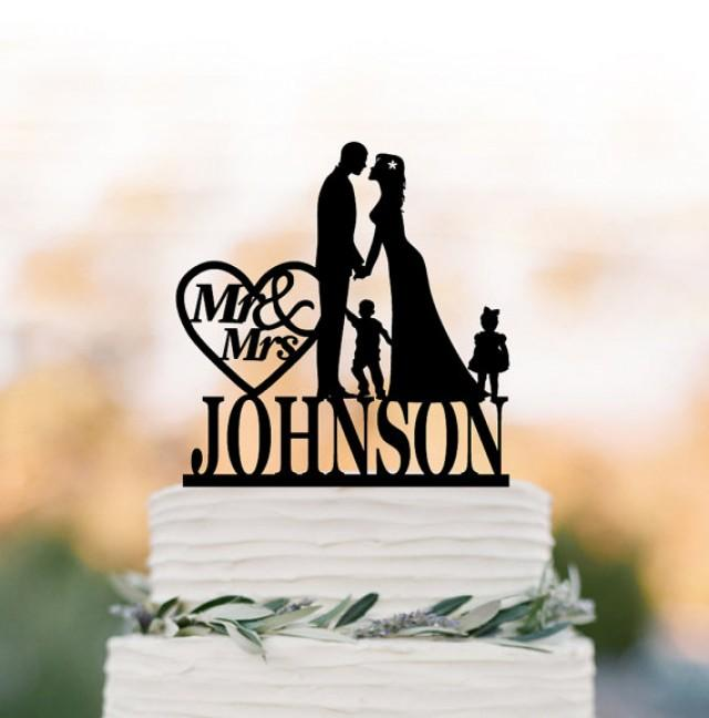 wedding photo - Personalized Wedding Cake topper with child, customized cake topper for wedding, silhouette wedding cake topper with boy and girl mr and mrs
