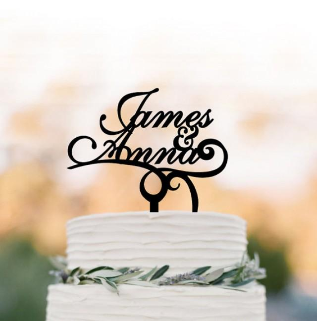 wedding photo - Personalized Wedding Cake topper, customized cake topper for wedding, Bride and Groom name wedding cake topper funny