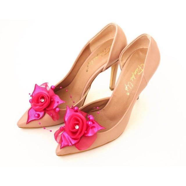 wedding photo - Rose Shoe Clips with handmade flowers, shoe accessories, wedding accessories