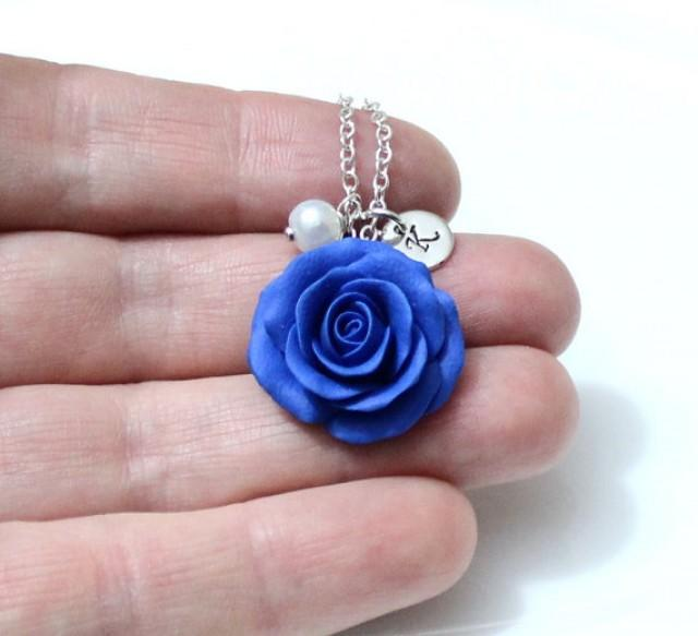 wedding photo - Blue Rose Necklace, Blue Pendant, Personalized Initial Disc Necklace, Rose Charm, Bridesmaid Necklace, Blue Bridesmaid Jewelry