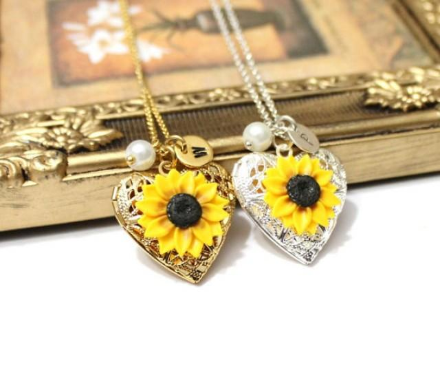 wedding photo - Sunflower Heart locket necklace, Personalized Initial Disc Necklace,Gold Sunflower,Locket Wedding Bride,Birthday Gift,Sunflower Photo Locket